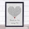 Bon Jovi Thank You For Loving Me Grey Heart Song Lyric Quote Print