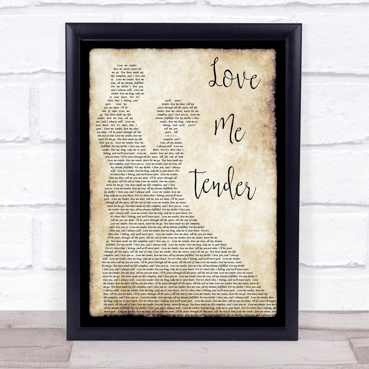 Love Me Tender Burlap /& Lace Song Lyric Art Music Quote Gift Poster Print