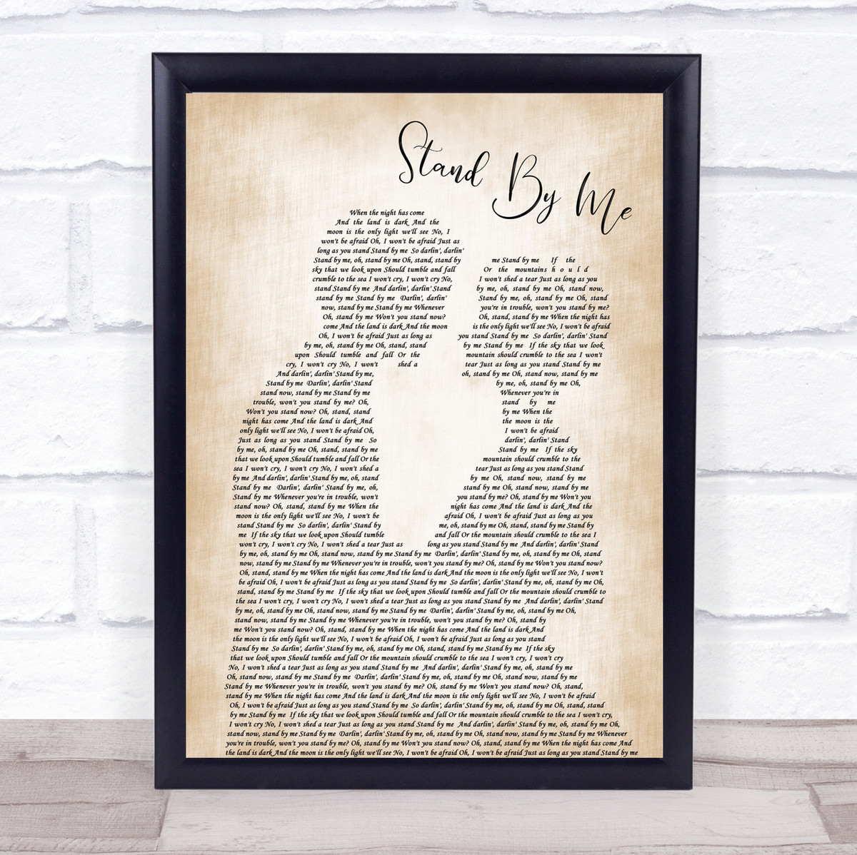 Stand By Me Song Lyric Man Lady Bride Groom Wedding Print