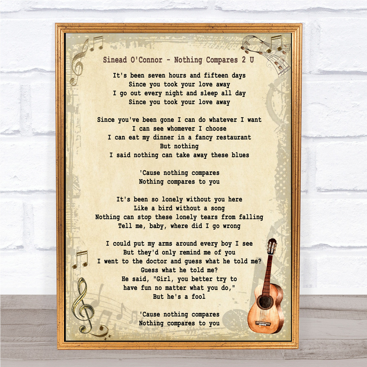 Sinead O Connor Nothing Compares 2 U Song Lyric Vintage Quote Print Songlyricprints Co Uk
