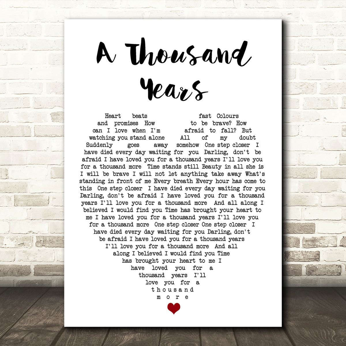 "Christina Perri /""Thousand Years/"" Heart Print Music Song Lyric Personalised Gift"