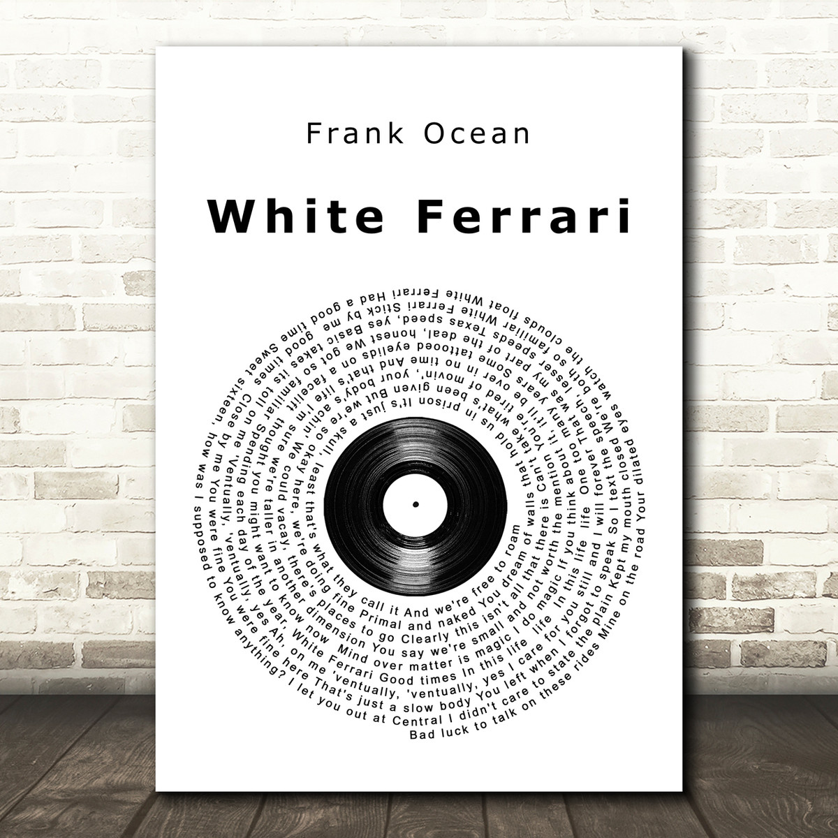 Frank Ocean White Ferrari Vinyl Record Song Lyric Music Art Print Songlyricprints Co Uk