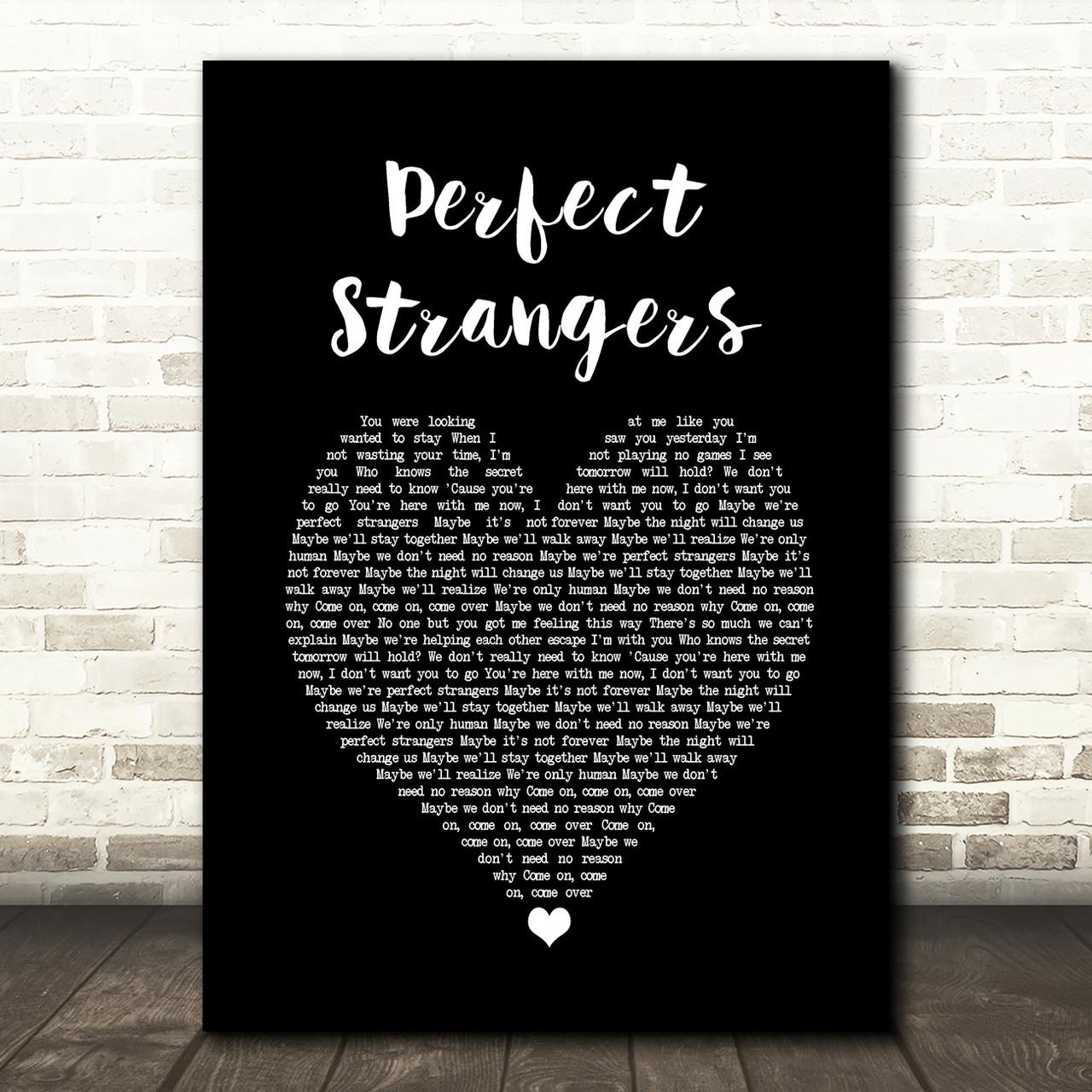 Jonas Blue Perfect Strangers Black Heart Song Lyric Wall Art Print