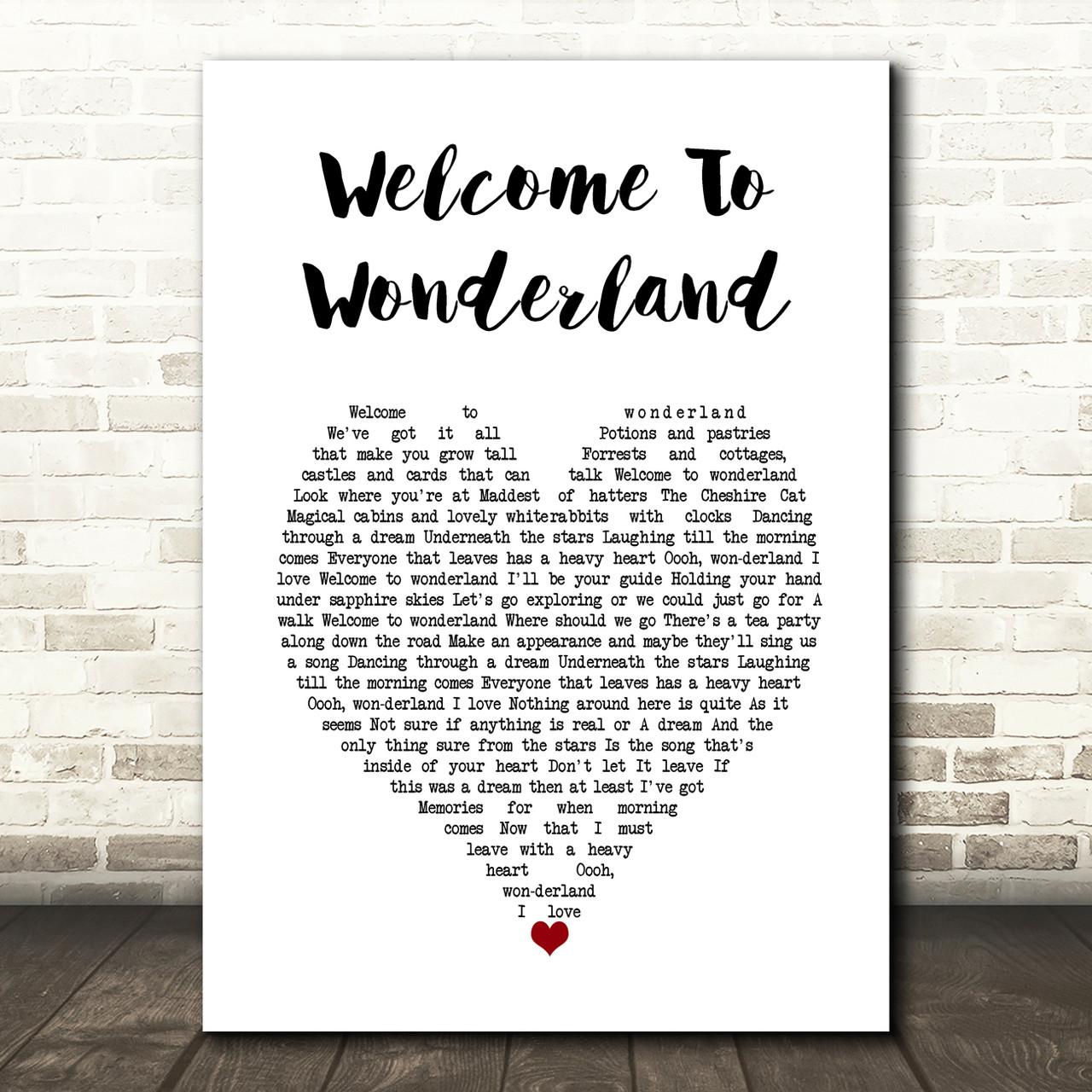 Anson Seabra Welcome To Wonderland White Heart Song Lyric Wall Art Print