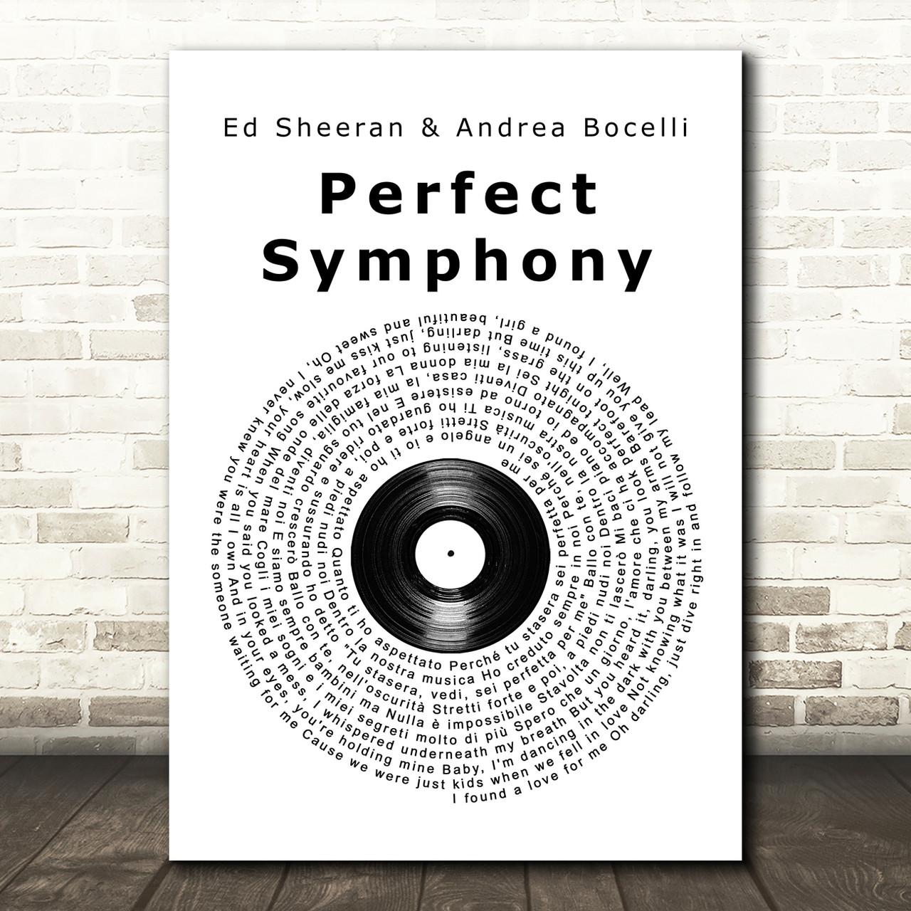 Ed Sheeran & Andrea Bocelli Perfect Symphony Vinyl Record Song Lyric Art  Print