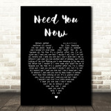 Lady Antebellum Need You Now Black Heart Song Lyric Quote Print