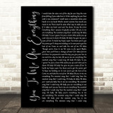 The Real Thing You To Me Are Everything Black Script Song Lyric Print