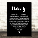 Shawn Mendes Mercy Black Heart Song Lyric Quote Print