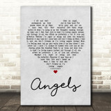 Robbie Williams Angels Grey Heart Quote Song Lyric Print