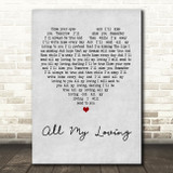 The Beatles All My Loving Grey Heart Quote Song Lyric Print