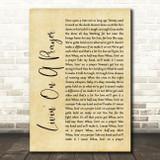 Bon Jovi Livin' On A Prayer Rustic Script Song Lyric Quote Print
