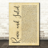Dire Straits Romeo And Juliet Rustic Script Song Lyric Quote Print