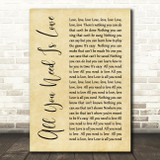 The Beatles All You Need Is Love Rustic Script Song Lyric Quote Print