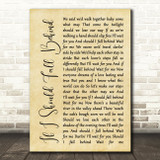 Bruce Springsteen If I Should Fall Behind Rustic Script Song Lyric Quote Print