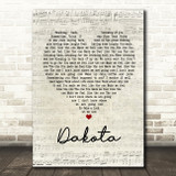 Stereophonics Dakota Script Heart Song Lyric Quote Print