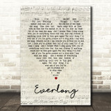 Everlong Foo Fighters Script Heart Song Lyric Quote Print