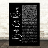 Bon Jovi Bed Of Roses Black Script Song Lyric Quote Print