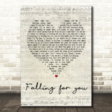 The 1975 Fallingforyou Script Heart Song Lyric Quote Print