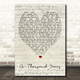 A Thousand Years Christina Perri Script Heart Quote Song Lyric Print
