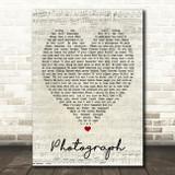Photograph Ed Sheeran Script Heart Quote Song Lyric Print