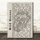 The Rolling Stones Wild Horses Shadow Song Lyric Quote Print