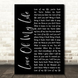 Queen Love Of My Life Black Script Song Lyric Quote Print