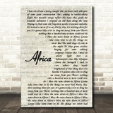 Toto Africa Song Lyric Vintage Script Quote Print