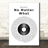 Boyzone No Matter What Vinyl Record Song Lyric Quote Print