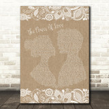 Celine Dione The Power Of Love Burlap & Lace Song Lyric Quote Print