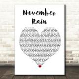 Guns N' Roses November Rain Heart Song Lyric Quote Print