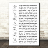 Gladys Knight Best Thing That Ever Happened To Me White Script Song Lyric Print