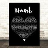 Linkin Park Numb Black Heart Song Lyric Framed Print