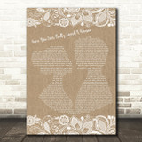Bryan Adams Have You Ever Really Loved A Woman Burlap & Lace Song Lyric Print
