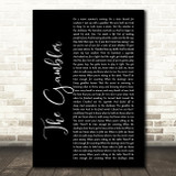 Kenny Rogers The Gambler Black Script Song Lyric Framed Print
