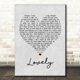Billie Eilish and Khalid Lovely Grey Heart Song Lyric Framed Print