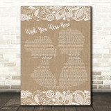 Pink Floyd Wish You Were Here Burlap & Lace Song Lyric Quote Print