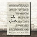 Kenny Rogers The Gambler Vintage Script Song Lyric Framed Print