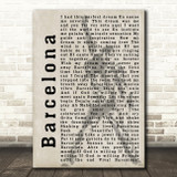 Freddie Mercury Barcelona Shadow Song Lyric Framed Print