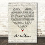 Ariana Grande Breathin Script Heart Song Lyric Framed Print