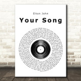 Elton John Your Song Vinyl Record Song Lyric Framed Print