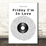 The Cure Friday I'm In Love Vinyl Record Song Lyric Framed Print
