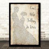 Elvis Presley Can't Help Falling In Love Song Lyric Man Lady Dancing Quote Print