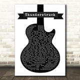 ACDC Thunderstruck Black & White Guitar Song Lyric Framed Print