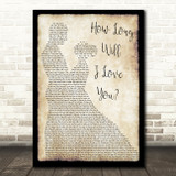 How Long Will I Love You Ellie Goulding Song Lyric Man Lady Dancing Quote Print