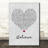 Mumford & Sons Believe Grey Heart Song Lyric Print