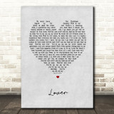 Taylor Swift Lover Grey Heart Song Lyric Print