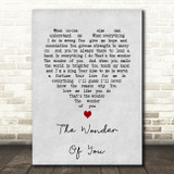Elvis Presley The Wonder Of You Grey Heart Song Lyric Quote Print