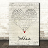Coldplay Yellow Script Heart Song Lyric Print