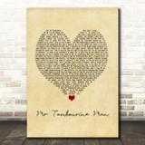Bob Dylan Mr Tambourine Man Vintage Heart Song Lyric Print