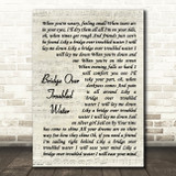 Simon and Garfunkel Bridge Over Troubled Water Vintage Script Song Lyric Print